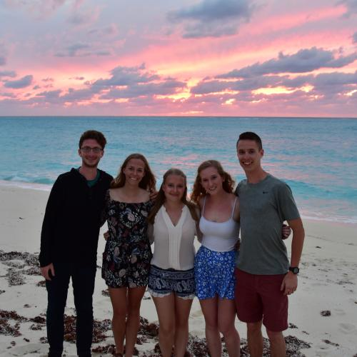 Students on a beach in the Bahamas