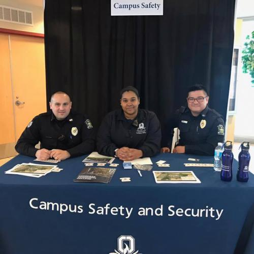 Campus Safety officers at an information session