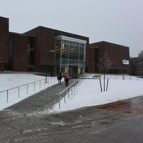 Coulter Library in the Snow
