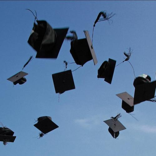 Graduation caps thrown into the air