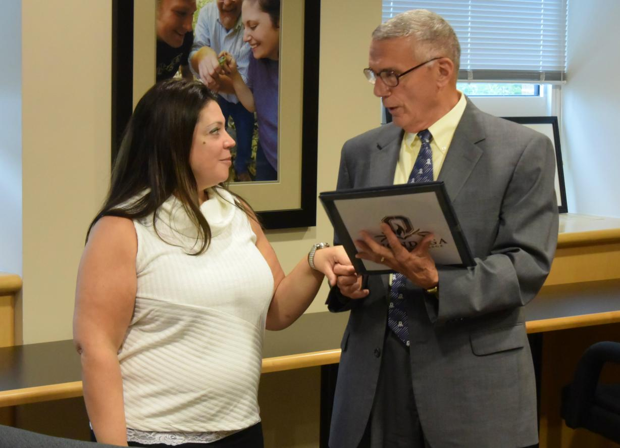 photo of Student Trustee Dawn Penson being sworn-in