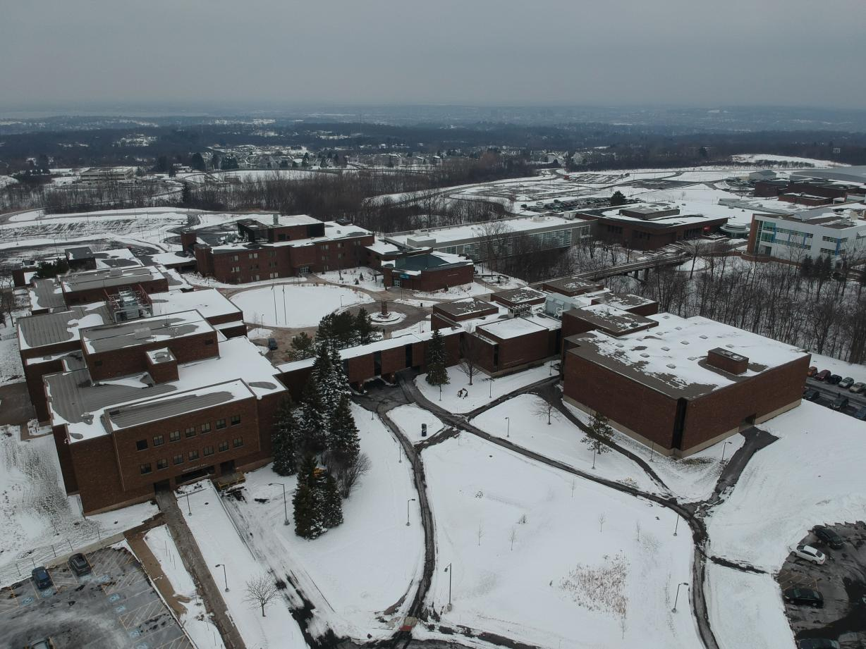 Aerial Shot of Campus during Winter