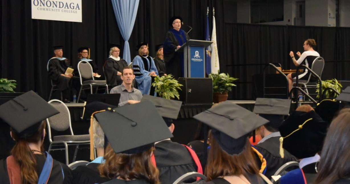 OCC President Dr. Casey Crabill speaks during the Fall 2019 Convocation ceremony.