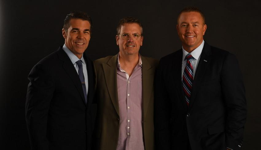 Bill Bonnell, '83 (center) with Chris Fowler (left) and Kirk Herbstreit (right).