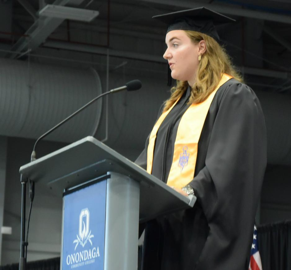 photo of student Maddie Bohrer speaking at Convocation