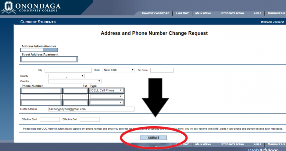 Address and Phone Number Change Request Page. Circled in red is the submit button with a black arrow pointing to it.