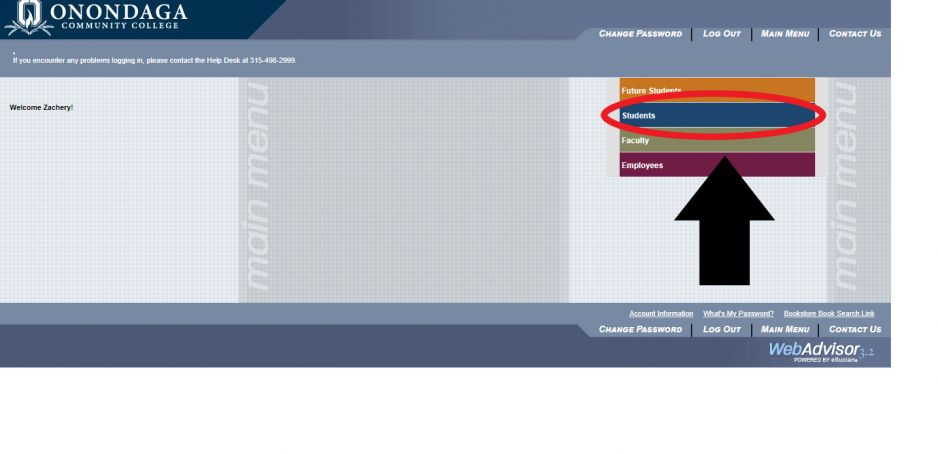 Screenshot of the homepage for Webadvisor after login. Blue student tab is highlighted with an arrow pointing to it.