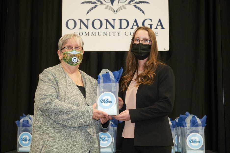 Early Childhood Curriculum Honoree Lily Simmons (right) is pictured with OCC President Dr. Casey Crabill (left).