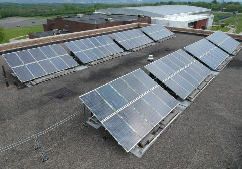 Photo of solar panels on the roof of the Whitney Applied Technology Center.