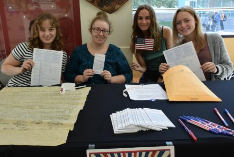 Photo of OCC students at Constitution Day table.